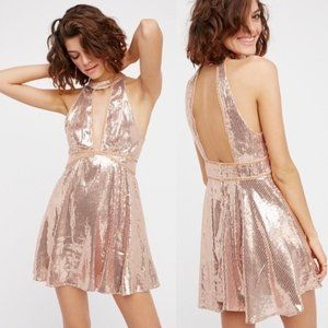 NWT Free People Film Noir Rose Gold Sequin Dress